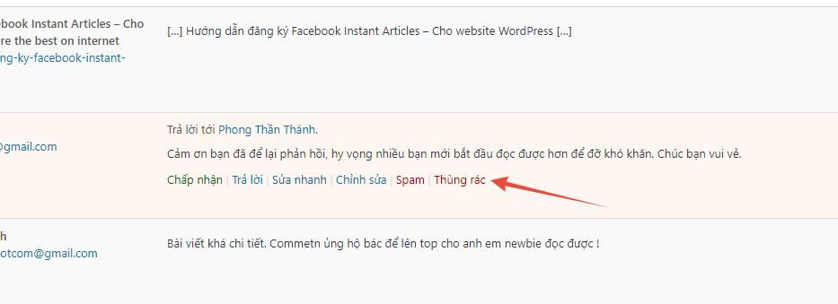 Cách xóa comment trên website WordPress